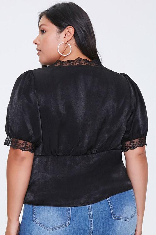 Plus Size Satin Lace-Trim Top, image 3