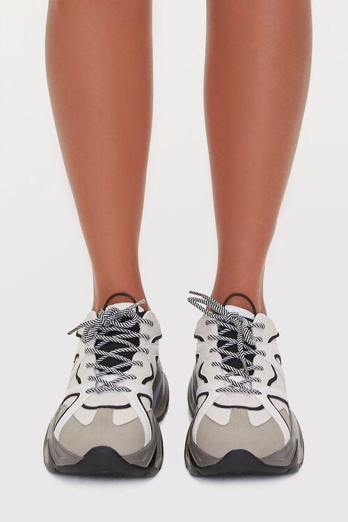 BLACK/WHITE Colorblock Low-Top Sneakers, image 4