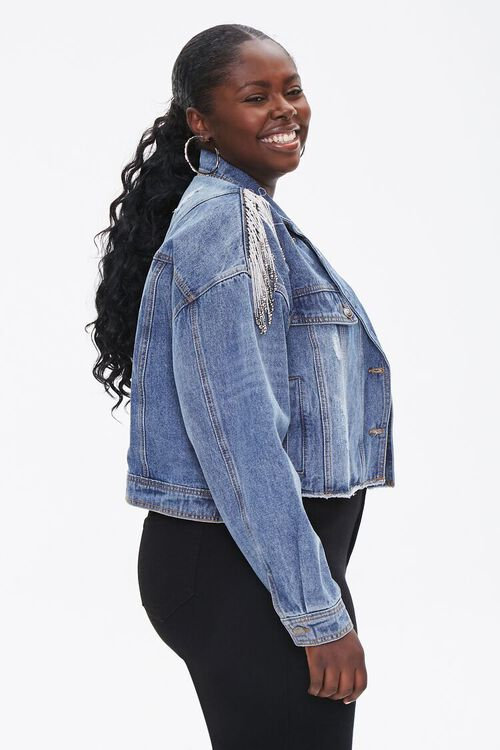 Plus Size Cropped Fringe Denim Jacket, image 2