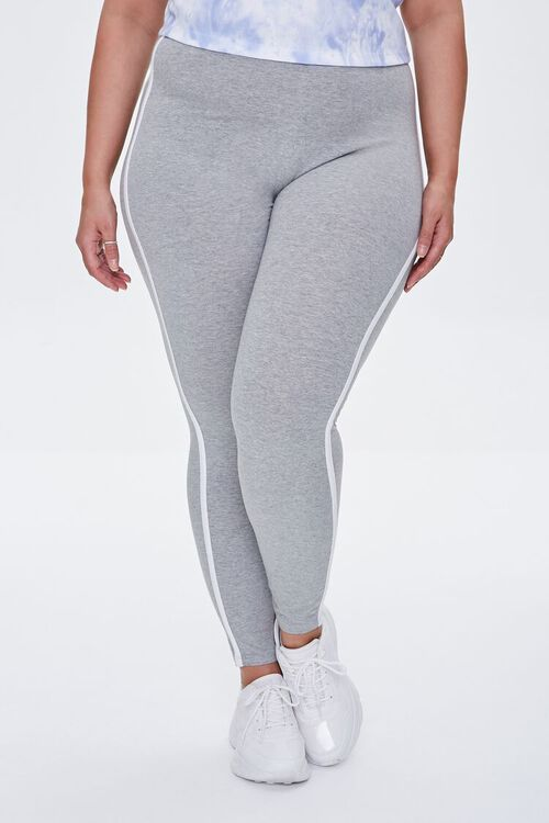 HEATHER GREY/WHITE Plus Size Side-Striped Leggings, image 2