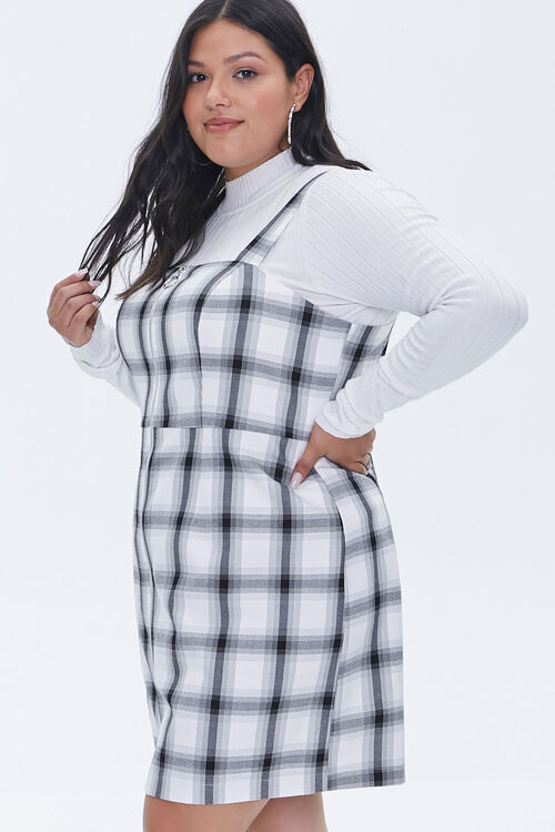Plus Size Plaid Zippered Overall Dress, image 2