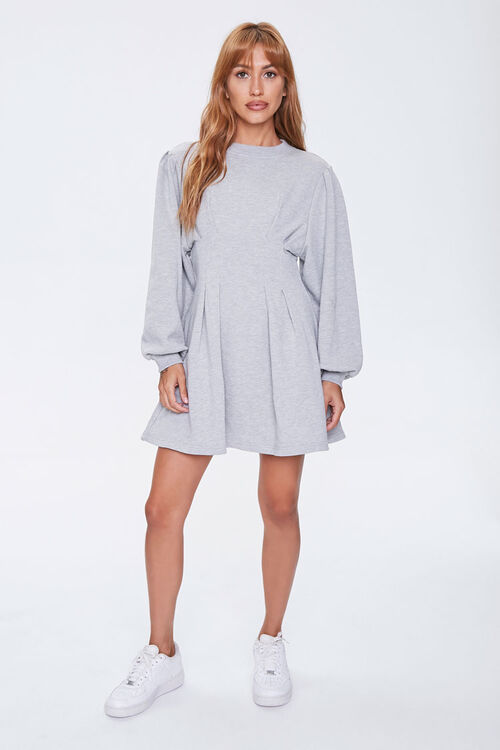 French Terry Pintucked Long-Sleeve Dress, image 4