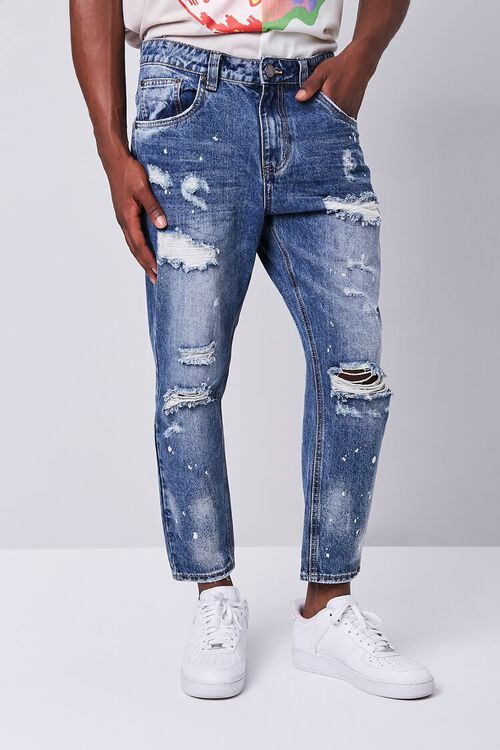 Paint Splatter Distressed Ankle Jeans, image 1