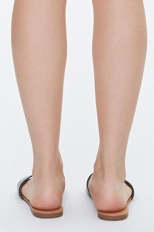 BLACK Faux Leather Flat Sandals, image 3