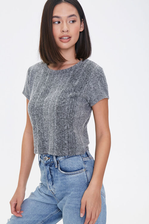 CHARCOAL HEATHER Ribbed Form-Fitting Tee, image 1