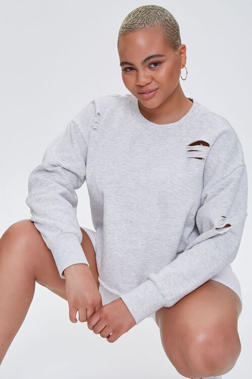 Plus Size Heathered Distressed Pullover, image 1