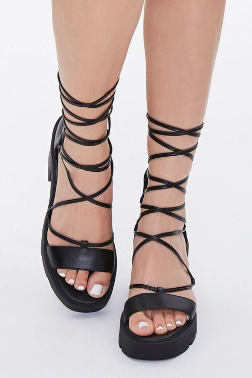 Lace-Up Platform Block Heels, image 4