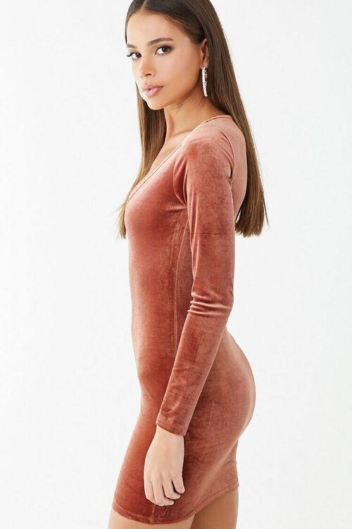 Velvet V-Neck Mini Dress, image 2