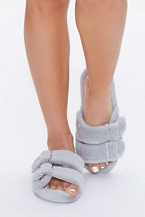 Faux Fur Dual-Strap Slippers, image 4