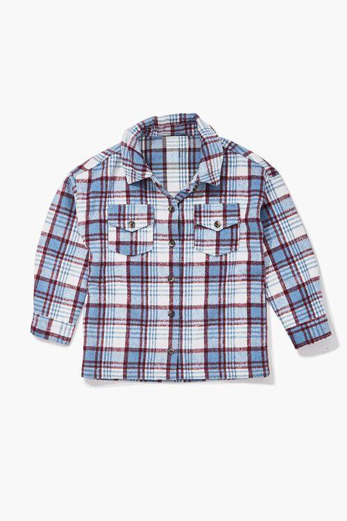 Girls Buttoned Plaid Shacket (Kids), image 3