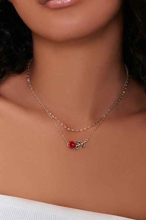 RED/MULTI Rose Pendant Necklace Set, image 1