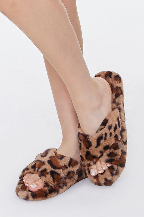Faux Fur Leopard Print Crisscross Slippers, image 1
