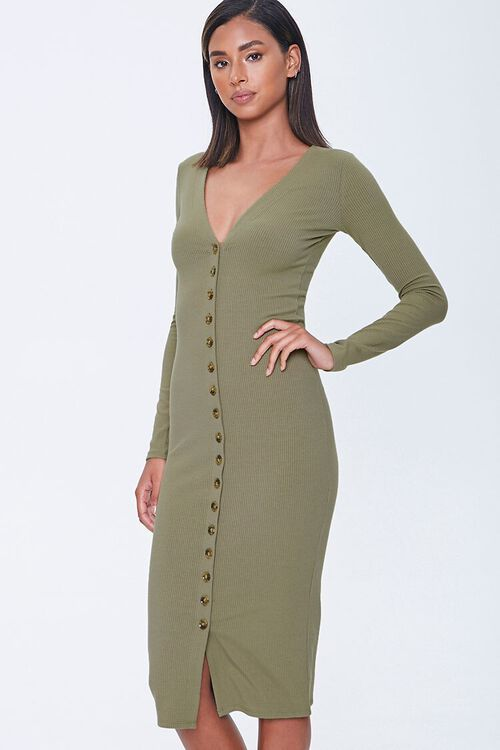 Button-Front Midi Dress, image 1