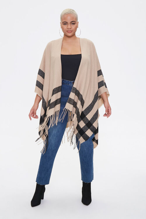 Plus Size Striped Fringe Poncho, image 4
