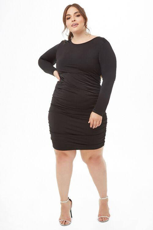 Plus Size Open-Back Ruched Dress, image 4