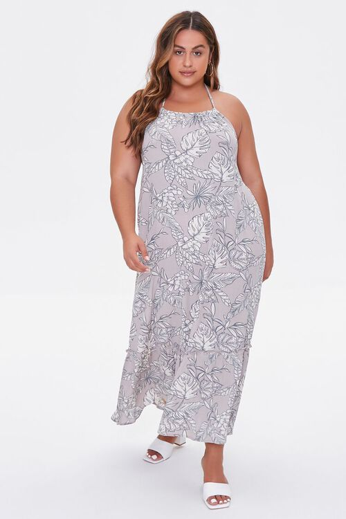 TAUPE/CREAM Plus Size Tropical Print Maxi Dress, image 1