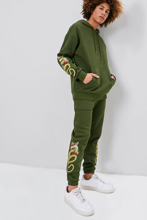 Dragon Embroidered Graphic Joggers, image 1