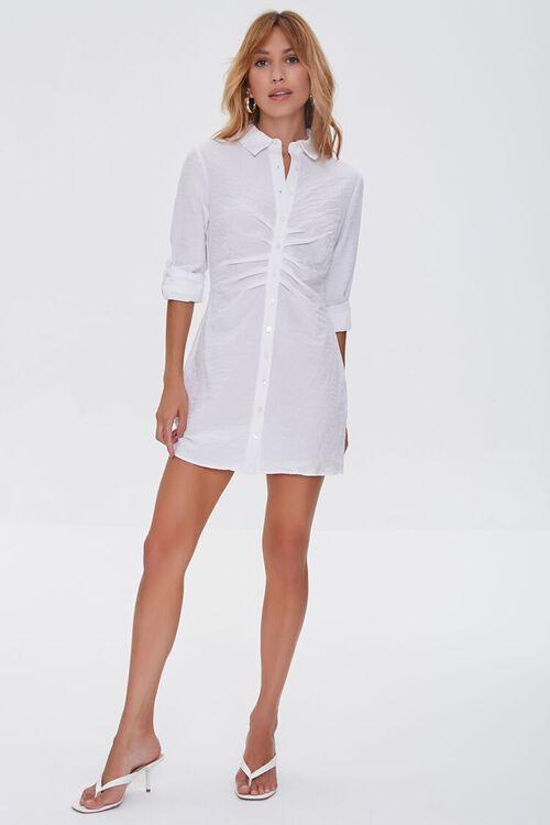 Ruched Mini Shirt Dress, image 4