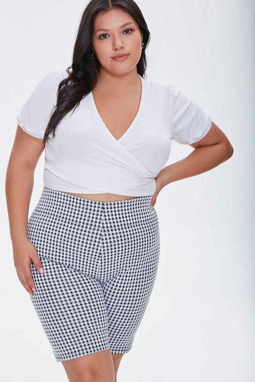 BLACK/MULTI Plus Size Gingham Biker Shorts, image 1