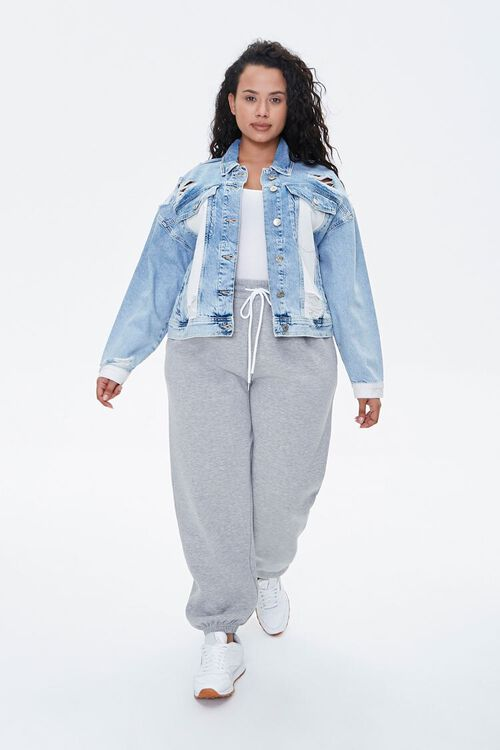 Plus Size Colorblock Denim Jacket, image 4