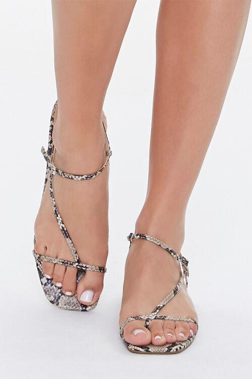 Faux Snakeskin Toe-Loop Block Heels, image 4
