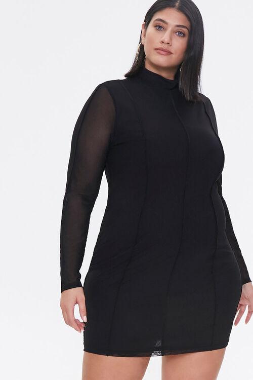 Plus Size Mock Neck Mini Dress, image 1