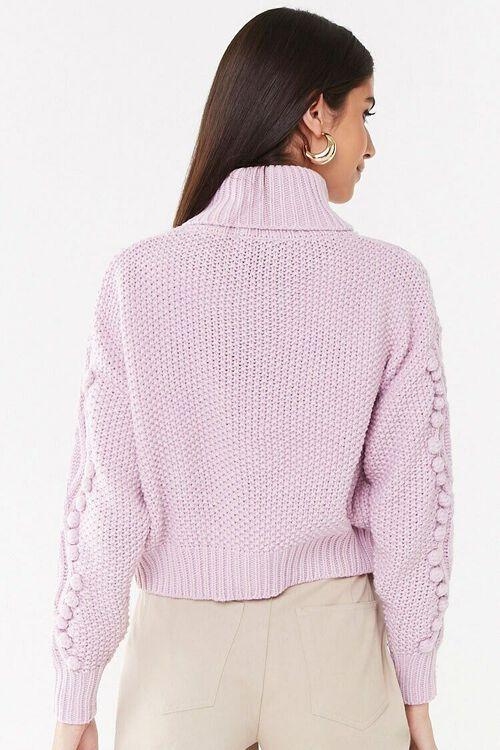 Turtleneck Cable-Knit Pom Pom Sweater, image 3