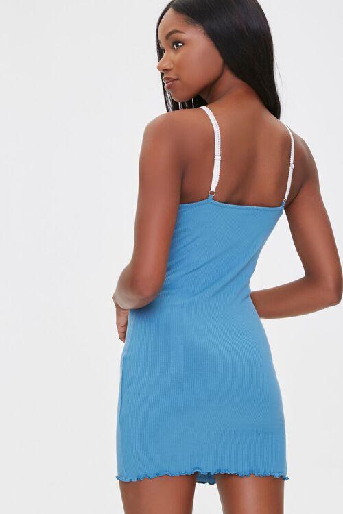 BLUE Ribbed Lettuce-Edge Mini Dress, image 3