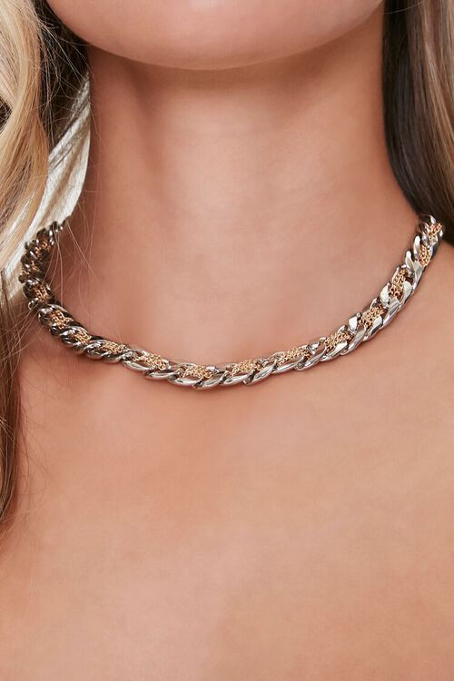 SILVER/GOLD Interweaved Chain Necklace, image 1