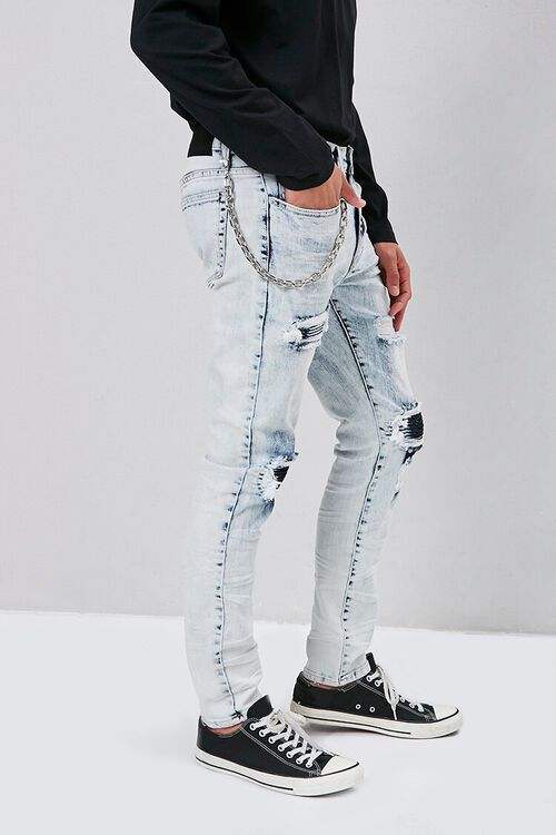 Distressed Bleach Wash Skinny Jeans, image 3