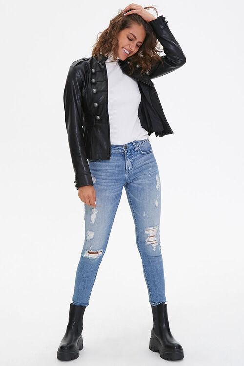 BLACK Faux Leather Bauble Jacket, image 4