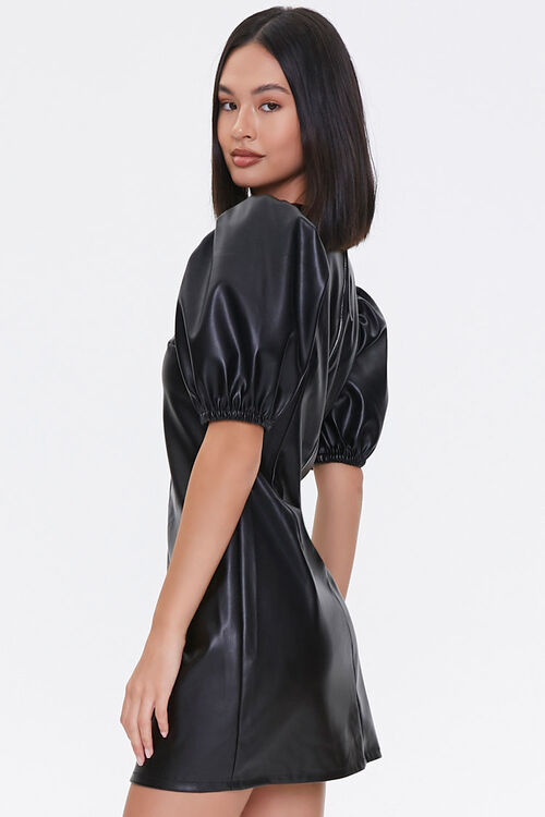 BLACK Faux Leather Puff-Sleeve Dress, image 2