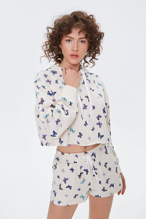 Butterfly Print French Terry Shorts, image 1