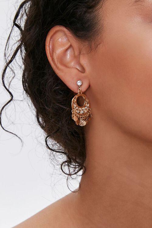 Disc Charm Pendant Drop Earrings, image 1