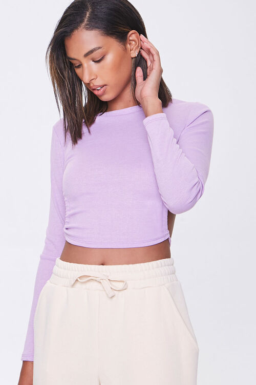 Ribbed Open-Back Crop Top, image 1