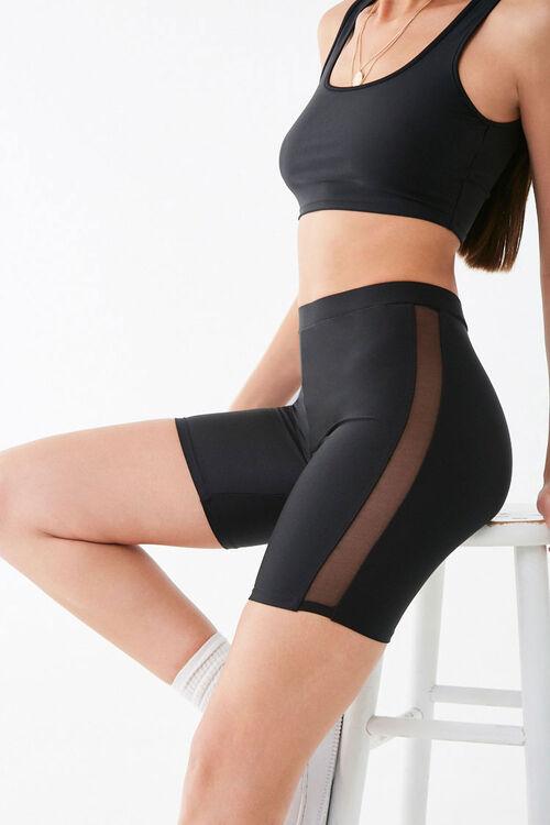BLACK Mesh Trim Biker Shorts, image 1