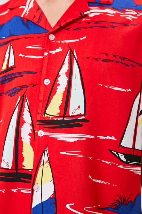 Classic Fit Sailboat Print Shirt, image 5
