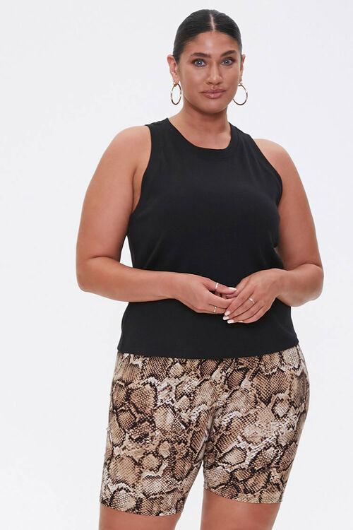 TAN/BLACK Plus Size Snake Biker Shorts, image 1