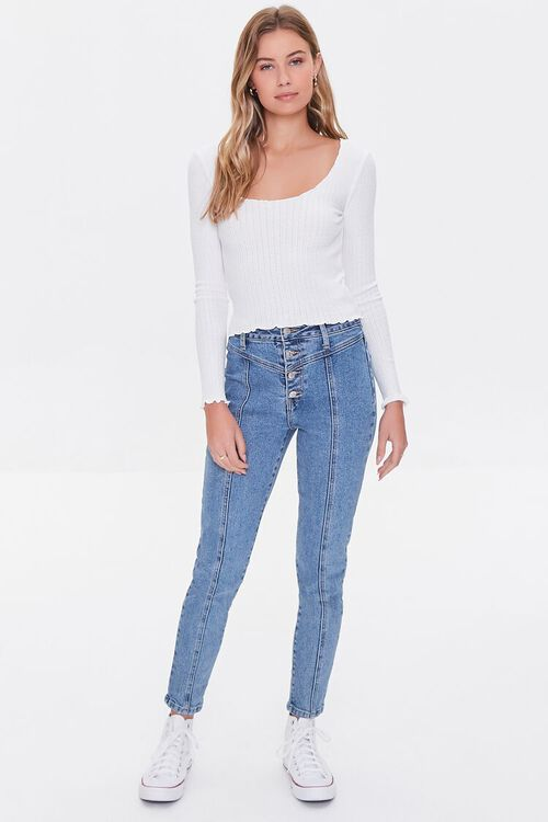 IVORY Ribbed Lettuce-Edge Top, image 4