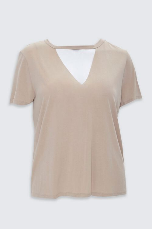 Plus Size V-Cutout Crew Neck Tee, image 3