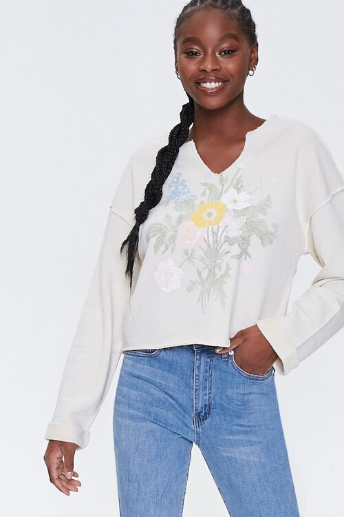 Floral Graphic Split-Neck Pullover, image 1