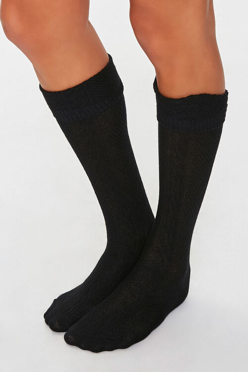 Cable Knit Knee-High Socks, image 1