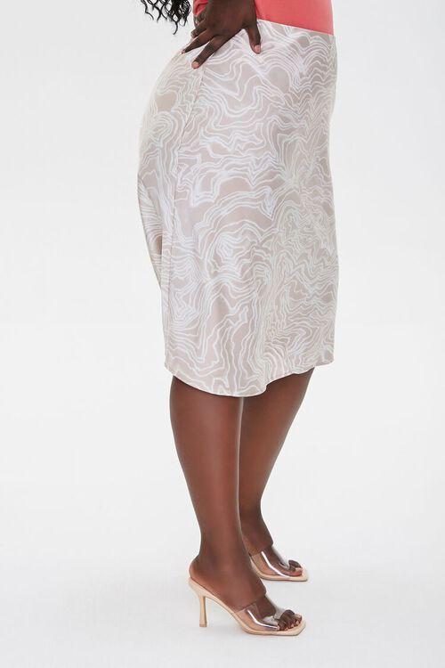Plus Size Satin Line Art Skirt, image 3