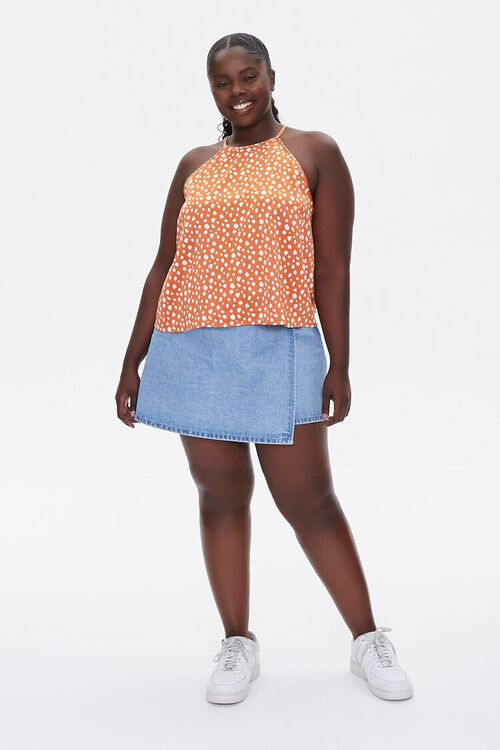 RUST/IVORY Plus Size Spotted Cami, image 4