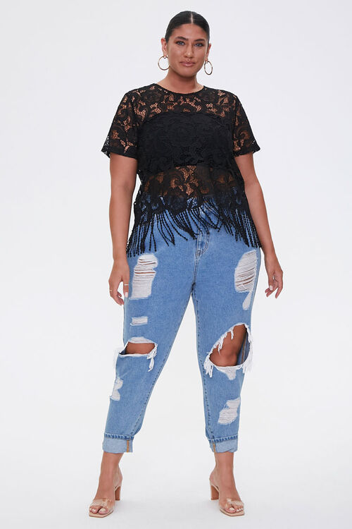 Plus Size Sheer Embroidered Lace Top, image 4
