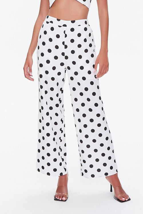 WHITE/BLACK Polka Dot Print Halter Top & Pants Set, image 4