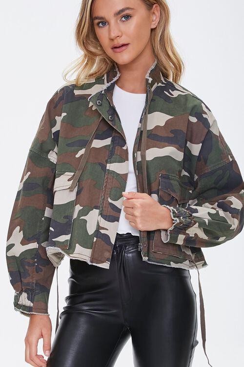 OLIVE/MULTI Frayed Camo Print Jacket, image 1
