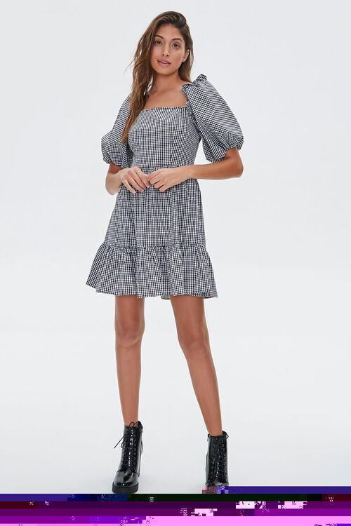 Gingham Balloon-Sleeve Dress, image 4