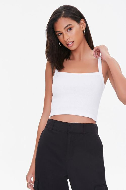 Straight-Neck Cropped Cami, image 1