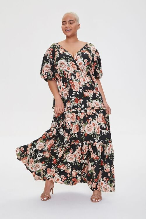 Plus Size Floral Tiered Maxi Dress, image 1
